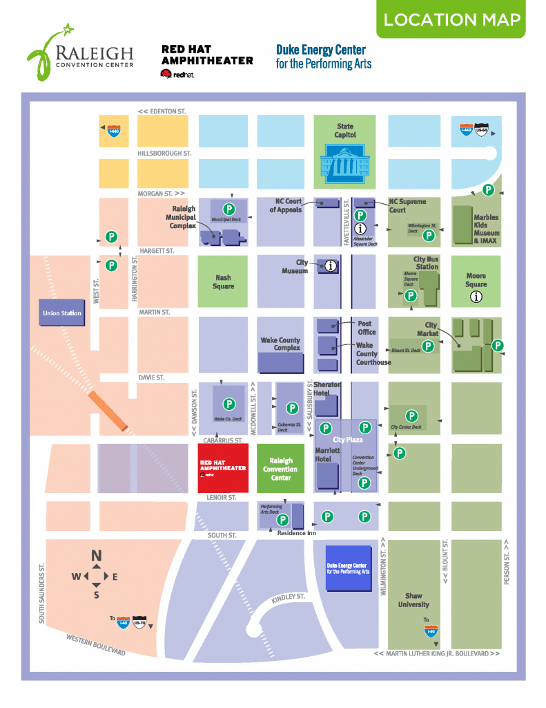 A rectangular map of Downtown Raleigh featuring color coding for different districts and labels for points of interest